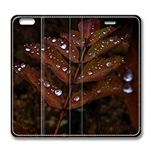 iPhone 6 Leather Case, Personalized Protective Flip Case Cover Wet Rust Colored Leaves for New iPhone 6