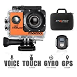 4K WIFI Sports Action Camera, SOOCOO S100 Pro Touchscreen Action Camera Ultra HD Waterproof DV Camcorder 20MP 170 Degree Wide Angle 2 inch LCD Screen/2 Batteries/17 Mounting Kits-Orange