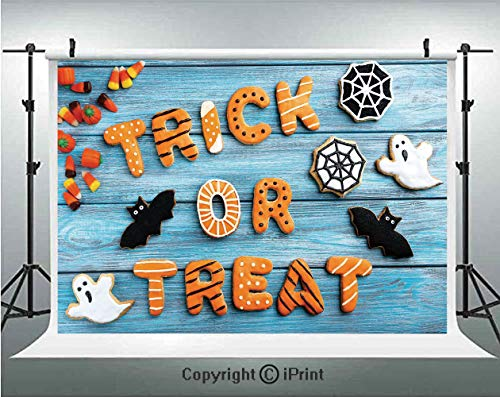 Vintage Halloween Photography Backdrops Trick or Treat Cookie Wooden Table Ghost Bat Web Halloween,Birthday Party Background Customized Microfiber Photo Studio Props,10x6.5ft,Blue Amber -