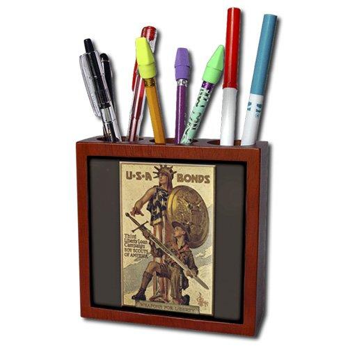 3dRose ph_149392_1 Vintage USA Bonds Third Liberty Loan Campaign Boy Scouts of America Tile Pen Holder, 5-Inch
