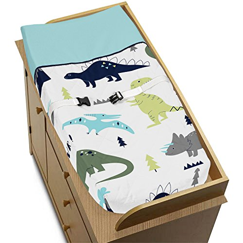Sweet Jojo Designs Blue and Green Modern Dinosaur Girls Boys Baby Changing Pad (Dinosaur Cover)