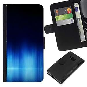 WINCASE Cuadro Funda Voltear Cuero Ranura Tarjetas TPU Carcasas Protectora Cover Case Para HTC One M9 - aurora ártico mar sinter agua oscura polar