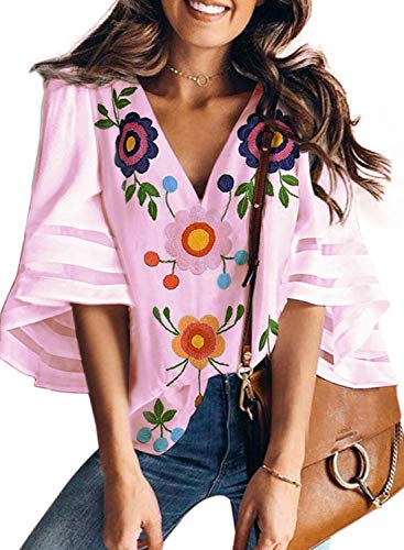 BLENCOT Women's Summer Floral Print V Neck Short Bell Sleeve Chiffon Blouses Casual Loose Tee Shirt Tops Pink Medium