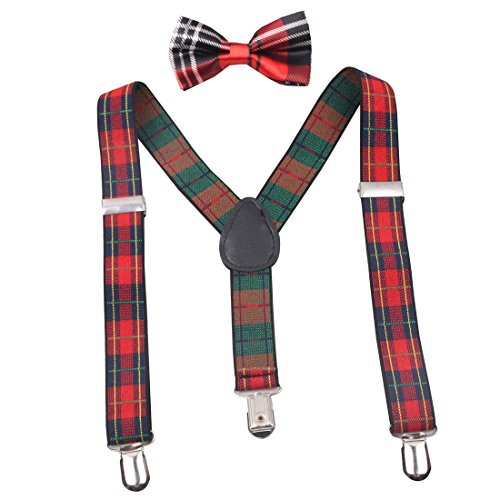 GUCHOL Baby Toddler Suspenders Bow Tie Vest Set - Adjustable Easy to Wear Bowtie for Kids Outfit Birthday(Red Stripe)