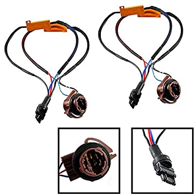 Xotic Tech 2pcs 3157 4157 Hyper Flash Pre-Wired Load Resistors LED Switchback Turn Signal Light Error Fixer: Automotive
