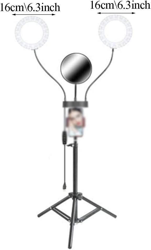 for Recording Portrait Makeup Videos a Mirror and Three Illumination Modes WYQSZ The Double Ring LED Ring Light Has Two Ring Light