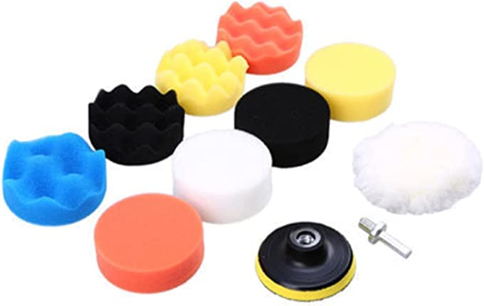 QiQi Shop 11Pcs/Set 3 Inch Car Polishing Disc Self-Adhesive Buffing Waxing Sponge Wool Wheel Polishing Pad for Car Polisher Drill Adapter (Color : Red)