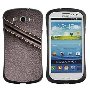 """Hypernova Slim Fit Dual Barniz Protector Caso Case Funda Para SAMSUNG Galaxy S3 III / i9300 / i747 [Cuero de la puntada de la textura de Brown""""]"""