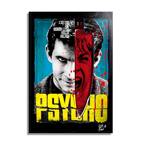 Norman Bates from Psycho Movie by Alfred Hitchcock - Pop-Art Original Framed Fine Art Painting, Image on Canvas, Artwork, Movie Poster, Horror, Halloween]()