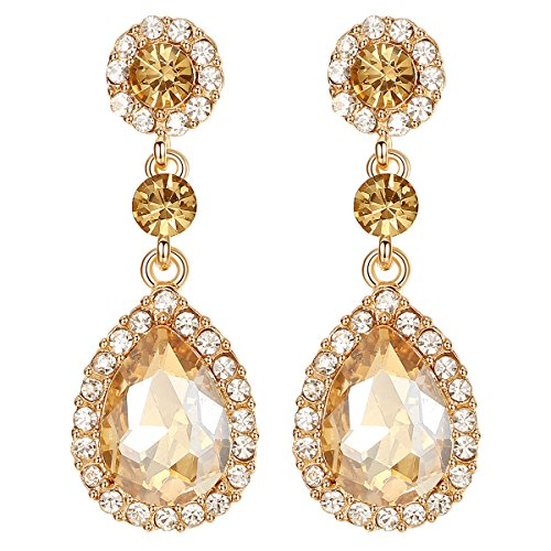 mecresh Flower Teardrop Champagne Wedding Dangle Earrings for Women or Bridesmaids (Colored Flower Dangle Earrings)