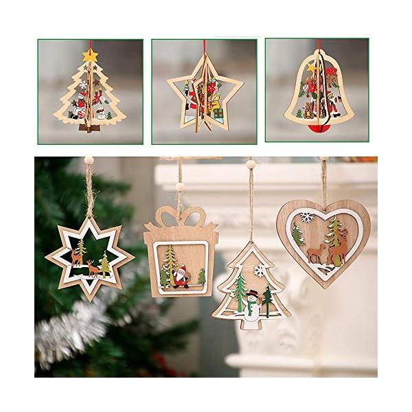 Bogoro 9 Pezzi Decorazioni Natalizie in Legno Albero di Natale Appeso Ornamento Decorazione Natalizia per Albero di Natale Babbo Natale e Snowman Ciondolo di Natale Fai da Te Ciondoli Legno Decorato 2 spesavip