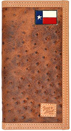Custom Lone Star Texas Flag Ostrich Print Leather Checkbook Wallet