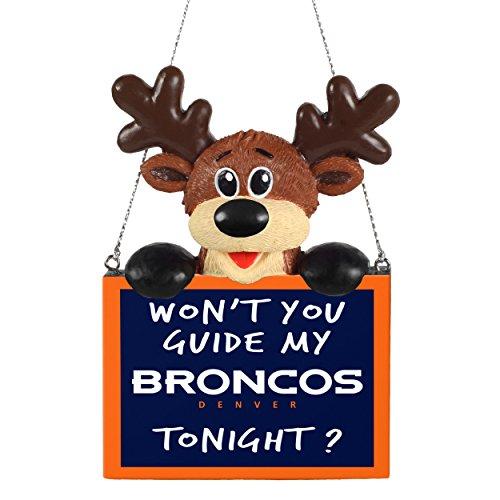 Forever Collectibles Denver Broncos Reindeer with Sign Ornament ()