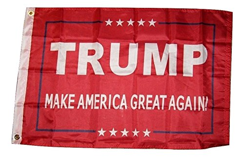 2x3 President Trump Make America Great Again Red Flag 2'x3' Banner Grommets House Banner Brass Grommets Fade Resistant Double Stitched Premium Quality Polyester Nylon ()