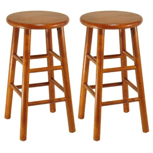 Winsome Wood Assembled 24-Inch Cherry Finish Kitchen Stools, Set of 2 - Winsome Cherry Bar Stool
