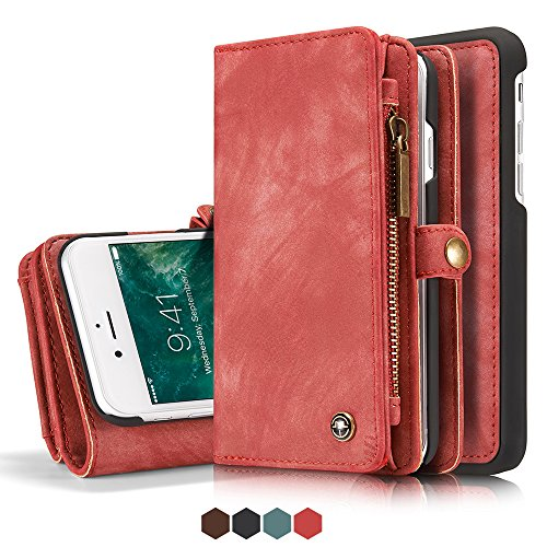Leather Wallet Magnetic Phone Case Detachable Case with Card Holder Flip Cover for IPhone XS, Red