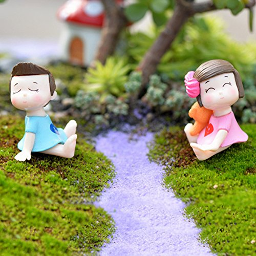 1Pair Sweety Lovers Couple Figurines Miniatures Fairy Garden Gnome Moss Terrariums Resin Crafts Decoration Accessories (Maison De Mickey Halloween)