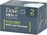 Dove Men+Care Body & Face Bar, Extra Fresh, 2 bars, 4.25 oz ea (Pack of 8)