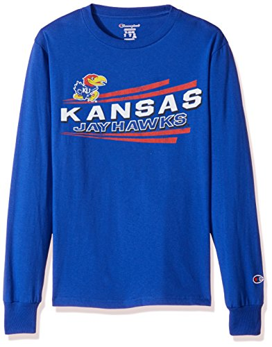 Champion NCAA Kansas Jayhawks Youth Boys Long Sleeve Jersey Tee, X-Large, Royal