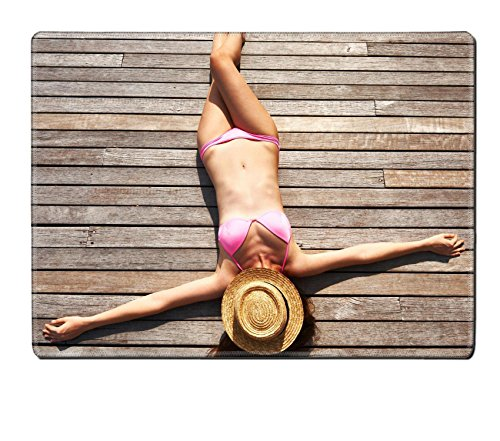 Luxlady Placemat Woman sunbathing lying at the deck IMAGE 25910835 Customized Art Home Kitchen