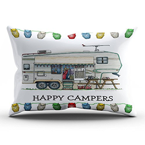 SALLEING Cute Luxury Vintage Fifth Wheel Camper Travel Trailer One Side Decorative Pillowcase King Zippered Throw Pillow Case Cushion Cover 20x36 inches (Best Luxury 5th Wheel Trailers)