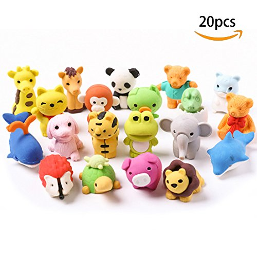 Lsushine 20 Animal Collectible Set of Random Adorable Animals Erasers Best for Kids Fun and (Fun Collectibles)