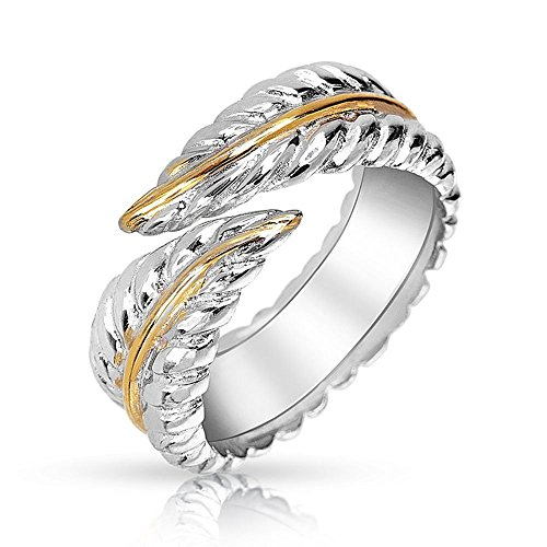 Gold Tone Finger (BODYA Jewelry silver gold tone finger Ring fashion Feather ring Wrap Ring Leaves Open Adjustable Ring 8#)