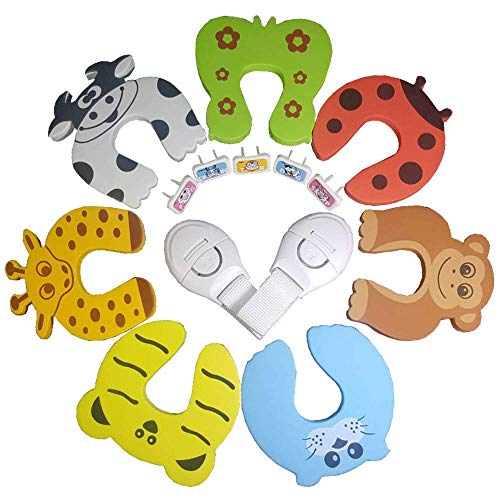 Finger Pinch Guard [7 Pcs] - Baby Proofing Door Stopper - Protect Child Fingers with Soft Durable Safety Foam Guards - Prevents Kids Finger Pinch Injuries, Colorful Cartoon Animal Cushion, SlamBumper