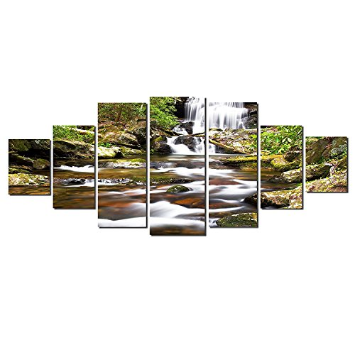 Startonight Glow in the Dark, Huge Canvas Wall Art Waterfall In The Forest, Home Decor, Dual View Surprise Artwork Modern Framed Wall Art Set of 7 Panels Total 39.37 x 94.49 inch by Startonight