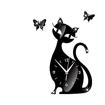 Espejo Explosivo Lindo Gato Reloj De Pared Personalidad Creativa Gato Negro Reloj De Pared Moda Simple