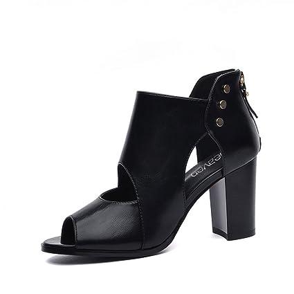 c67f80e9146 Amazon.com: Women's Sandals Female Shoes Thick Heel Fish Mouth Shoes ...