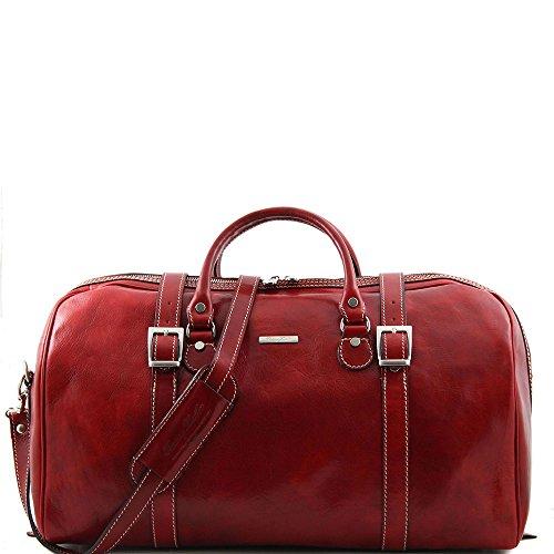 Tuscany Leather - Berlin - Sac de voyage en cuir avec boucles - Grand modèle - Rouge - Homme