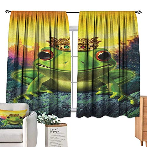 AnimalSolid Rod Pocket short Blackout DrapesFrog Prince with His Golden Crown on the Rocks Fairytale Soul Mates IllustrationDarkening Thermal Insulated Grommet Window Blackout Green Yellow. W72