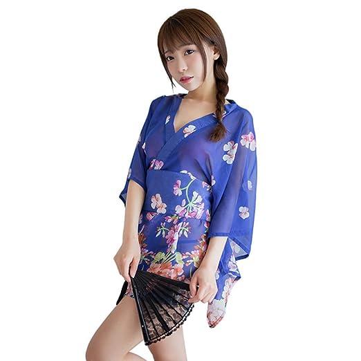 Zak Miller Ropa Interior erótica Ropa de Mujer Malla Perspectiva Imprimiendo Kimono Japoneses Tentacion Uniforme,Blue: Amazon.es: Hogar