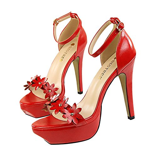 Party Ladies Sexy Bouth Fish Pumps Tacco Spillo MONAcwe con rosso Platform a Sandali Toe Buckle Sandali Open 1n5Aq0