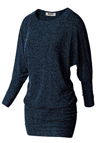 DJT Damen Langarmshirt Rundhals Fledermouse Minikleid Pulli Tunika Stretch Blau L