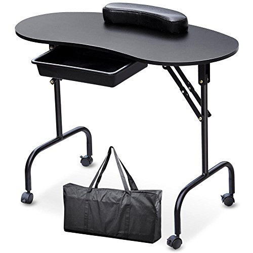 Yaheetech Beauty Manicure Nail Table Station Desk-Portable Folding 1-Drawer with Client Wrist Pad and Free Carrying Case(37″L,Black)