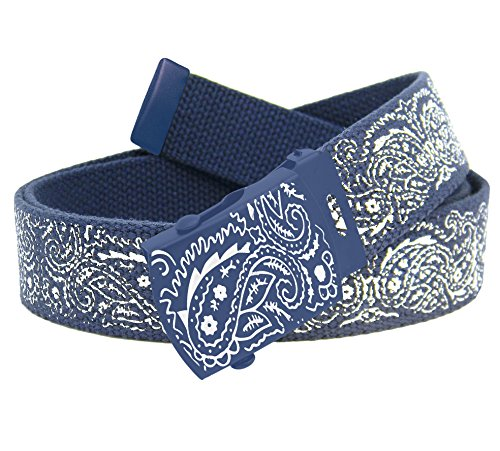 Men's Bandana Slider Buckle with Printed Canvas Web Belt Medium Navy Bandana Print