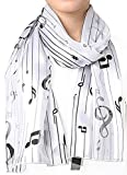 Crown Women's Fashion Music Note Scarf with Gift Box (Various Patterns, Colors) (2005-WH)