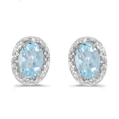 e763fdf0f2516 14K White Gold Oval Aquamarine and Diamond Earrings (3/4ct TGW)