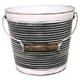 Vintage Ribbed Surface Pail with Handle Garden Pot Planter – with wooden handle, drainage hole, galvanized – 10″ Dia (Charcoal) For Sale