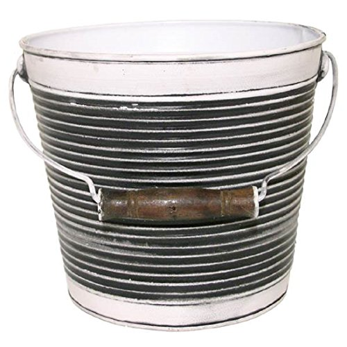 Vintage Ribbed Surface Pail with Handle Garden Pot Planter - with wooden handle, drainage hole, galvanized - 10