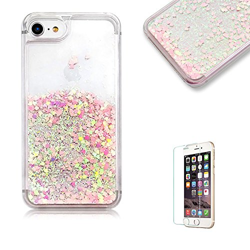 For iPhone 5/5S/SE Case [with Free Screen Protector],Funyye Flowing Liquid Bling Glitter Love Chip Design Transparent Soft TPU Crystal Clear Colourful Change Protective Back Case Cover Shell for iPhone 5/5S/SE-Pink