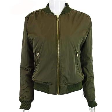 YOYOBABY Women Army Green Down Jacket Coat Padded Zipper Chaquetas Biker Outwear Army Green S