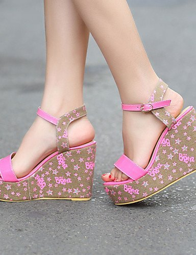 ShangYi Women's Shoes Heel Wedges / Peep Toe / Platform Sandals / Heels Outdoor / Dress / CasualBlue / Pink /...