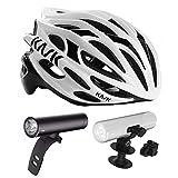 Kask Mojito Road Bike Helmet (White/Black, Medium) + Knog PWR Rider Bicycle Headlight + Helmet Mount Bracket