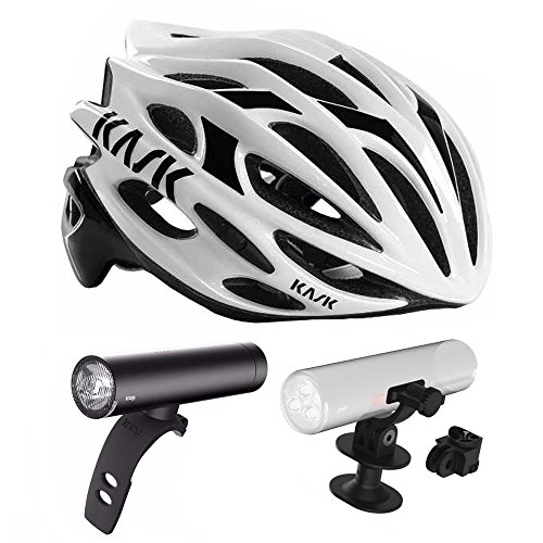 Kask Mojito Road Bike Helmet (White/Black, Medium) + Knog PWR Rider Bicycle Headlight + Helmet Mount Bracket by Kask