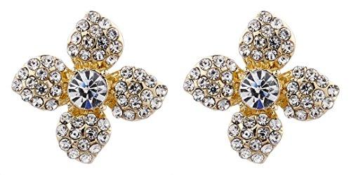 Boucles d'oreilles clips - plaqué or fleur avec des cristaux clairs - Eden par Bello London