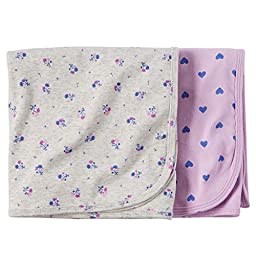Carter\'s Baby Girls Hearts 2 Pk Swaddle Blanket Set