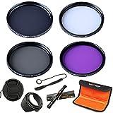 49mm filter, K&F Concept 49mm UV Filter + ND Filter Neutral Density Filter + Polarizing Filter + FLD Filter Lens Filter Kit for Sony NEX5 NEX7 A3000 DSLR Cameras + Filter Pouch